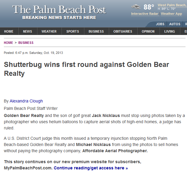 Palm Beach Post reports on Schneider Rothman client winning injunction in copyright lawsuit