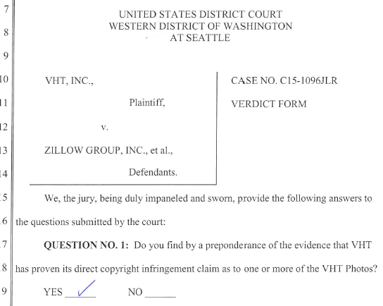 VHT wins blockbuster $8M+ verdict against Zillow for copyright infringement of real estate photos